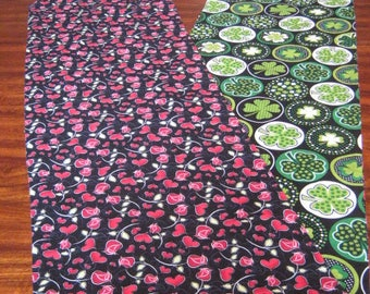 "VALENTINE'S DAY and St. PATRICK'S Day reversible table runner 74-86"" long stem red roses, red hearts on black-asst Green Shamrock circles"