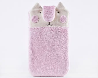 Cute Pink iPhone 8 Case, iphone 7 case, Samsung Galaxy S8 case, Fluffy iPhone 7 Plus case, Cat iPhone 6 Plus sleeve, Cat Lover Gift, Cat Bag