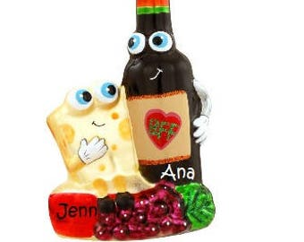 BFF Holiday Ornamanets, Wine and Cheese Ornament, Best Friend Ornament, We Go Together Like...