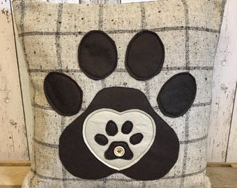 Heart and paws - brown and beige wool check , large  paw print and heart applique cushion