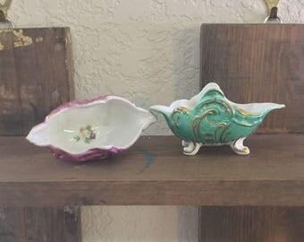 Open salt cellars, German porcelain,ring holder, salt bowls