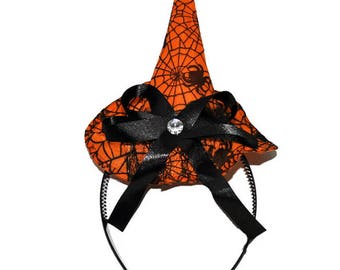 Orange Witch Headband Hat, Halloween Witch Hat Headband, Witch Hat, Crazy Hat Day, Halloween Costume Outfit, Magic Hat, Wizard Hat