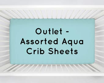 OUTLET 4-Pack of Assorted Aqua Crib Sheets by Carousel Designs