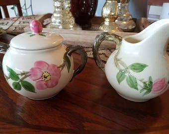 Franciscan Desert Rose Creamer and Sugar Bowl with Black Backstamp