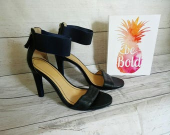 1990's Nine West Open Toe Heels Black and Navy Blue, Strappy Heels Size 7.5 Nine West Pumps