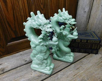 Set of 2 Vintage Gump's San Francisco Chinese Standing Dragons