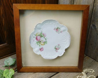 Antique Mum Scalloped China Plate in a Wood Shadow Box