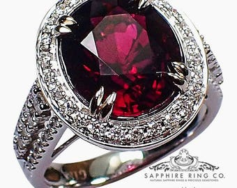 GIA 18kt 5.17 ct Oval Cut Dark Red to Purple Natural Tourmaline & Diamond Ring - 505 D