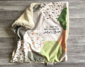 Woodland lovey, security blanket. Baby lovey security Blanket, minky Baby Blanket, wild boy lovey, modern gift
