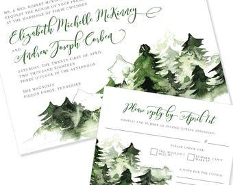 Woodland | Evergreen | Forest | Wedding Invitation | DIY Option Available | Invitation | RSVP | Info Card #1236
