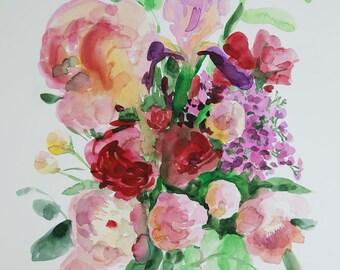 SALE Original watercolour painting art nursery art classical painting 12 x 18 in Botanical illustration Italian Garden