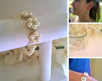 Rhinestone and Pearl Jewelry Set, Bridal Jewelry Set, Bridesmaid Jewelry Set, Prom Jewelry Set, Mother of the Bride Jewelry Set