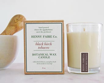 black birch tobacco scented candle | tobacco candle with sassafras, birch smoke & tea leaf | natural soy wax artisan fragrance spa candle