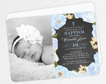 Photo Baptism Invitation, Christening Invitation, Girl Baptism Invitation, Printable, Watercolor Flowers, Chalkboard, PDF, Blue, Camilla