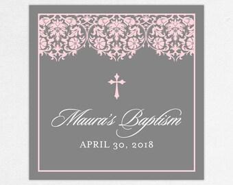 Baptism Favor Tag, Baptism Favor Label, Christening Favor Tag, Christening Favor Label, Print, Floral, Damask, Lace, Girl, Gray, Pink, Maura