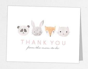Woodlands Thank You Card, Baby Shower Thank You Card, Baby Thank You Card, Watercolor, Animals, Fox, Rabbit, Panda, Kitten, Animal Shower