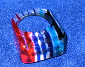 Vintage Lucite Red, Green and Blue Mod Ring size 6
