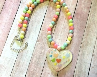 Fairy Kei Inspired Beaded Necklace With Heart Pendant