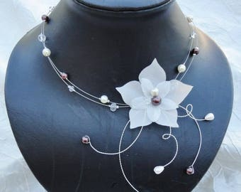 Jewelry set for wedding, bridal set - necklace, bracelet and earrings - glass beads and ivory chocolate silk flower