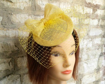 Yellow fascinator yellow wedding hat veil hat on headband wedding fascinator races hat Kate Middleton hat tea party hat yellow formal hat