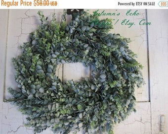 FAUX EUC WREATH~ Farmhouse Wreath~ Eucalyptus Wreath~ Farmhouse Style Wreath~Rustic Door Wreath~Spring Door Wreath~Faux Greenery Wreath~