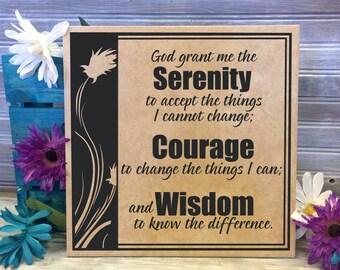 Serenity Prayer Sign God grant serenity courage wisdom, Serenity Saying, Spiritual Motivation, AA Prayer Sobriety Gift, Thank you Friend