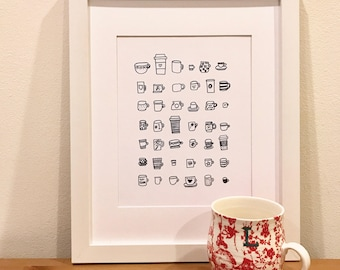Art Print - Coffee Cups | Kitchen Decor, Home Decor, Kitchen Illustration, Coffee Lover, Teacher Gift