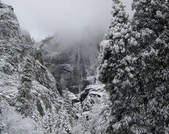 Yosemite Falls Winter Photo, Yosemite National Park Photography, Waterfall in Winter Print, Vertical Shot of Yosemite Falls, Mountain Cabin