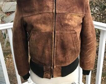 Vintage Brown distressed sueded bomber jacket mens