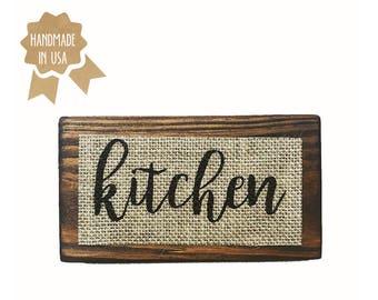 "Kitchen / MINI Wood Sign - 6""x3.5"" / Shabby Chic / Rustic / Handmade / Wood Plaque / Burlap Sign"