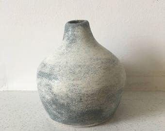 Clouds of Consciousness Bud Vase - Grey and soft white, wheel thrown stoneware, hand painted, one of a kind, studio ceramics