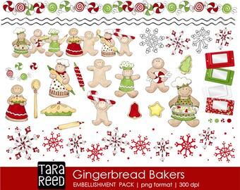 Gingerbread Bakers Christmas Digital ClipArt, Christmas Digital Printables