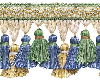 """Green, Gold, Blue 3 3/4"""" Imperial Iitassel Fringe Style# Tfi2 Color: Mountain Spring - 4668 (sold by The Yard)"""