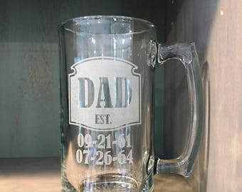 Dad's Beer Mug complete with dates he became a dad