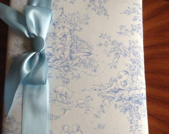 Blue Toile with Light Blue Background Fabric Covered Photo Album!   Great Baby Shower or New Baby Gift