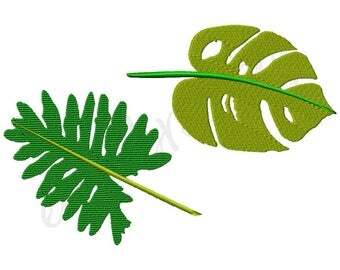 Tropical Monstera Banana Leaf Machine Embroidery Design File - 4x4 5x7 6x10 - Instant Download - Embroidery Font Monogram Design