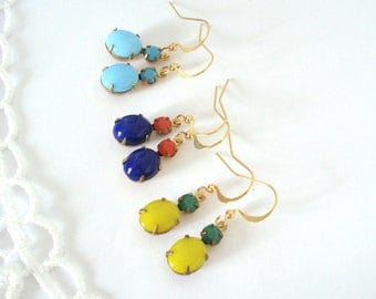 Summer Dangle Earrings, Vintage Jewel Earrings, Colorful Rhinestone Earrings, Everyday Earrings