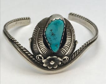 Sterling Silver Turquoise Squash Blossom Cuff Bracelet Vintage 1980's