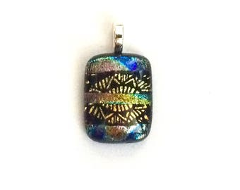 Fused Dichroic Glass Cabochon Pendant, Red, Orange, Gold, Blue, Green & Black, Dichroic Jewelry