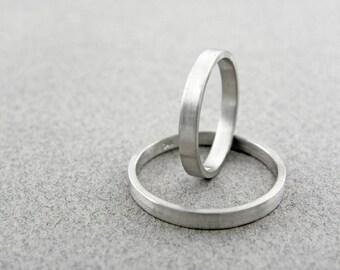 Gold wedding bands set-14k solid white gold-2 mm x 1 mm - Brushed finish.