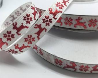 """3/8"""" Christmas Metallic Red Reindeer grosgrain sold by the yard"""
