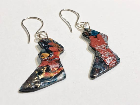 Earrings - multi color contemporary handmade polymer clay on lightening shaped steel piece with sterling silver ear wire