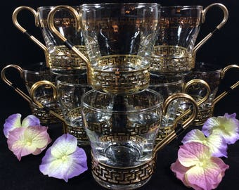 Greek Key Coffee Cups by Libbey Glass Company * Gold Greek Key Glasses with Detachable Metal Holder / Handles * Set of 8