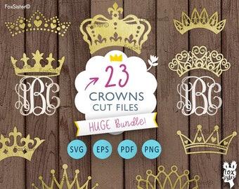 Crown SVG  monograms Bundle!! 23 Royal crowns  Tiara Papercut Template   Princess King Silhouette   Cricut, Cameo   cut files   Home Decor