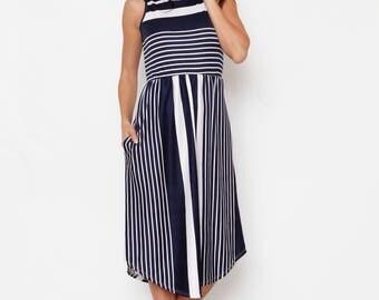 Stripe Midi Dress With Pockets