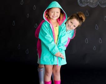 Monogrammed Kids Mint Green Raincoat * Youth Rain Jacket with Monogram * Personalized Rain Coat * Custom Embroidered Gift