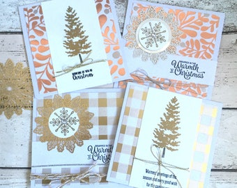 4 Large Handmade Rose Gold Silver 'Merry Christmas' Cards Note Cards for Festive Occasion With Envelope