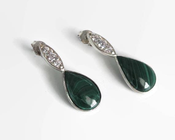 Malachite and cubic zirconia earrings in sterling silver, tear drop shaped malachite, drop earrings, very sparkling Cubic Zirconias