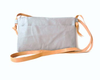 Gray Leather Bag| Leather Crossbody Bag| Leather Handbag| Grey Leather Bag| Minimalist Leather Bag| Grey Handbag Leather