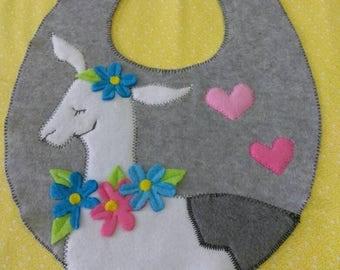 Cozy Fleece Llama Bib.